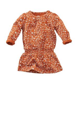 jurk Honeybee met all over print roestbruin/wit