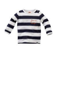 Z8 baby gestreepte longsleeve Ocean wit/donkerblauw/donker oranje, Wit/donkerblauw/donker oranje