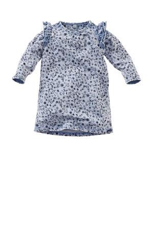 jurk Papillon met all over print en ruches lichtblauw/donkerblauw