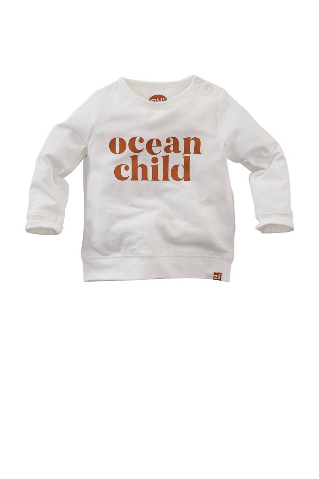 Z8 baby longsleeve Oriole met tekst wit/donker oranje, Wit/donker oranje