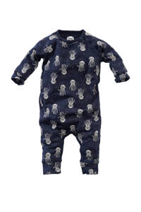 Z8 newborn baby boxpak Rhododendron met all over print donkerblauw/wit, Donkerblauw/wit