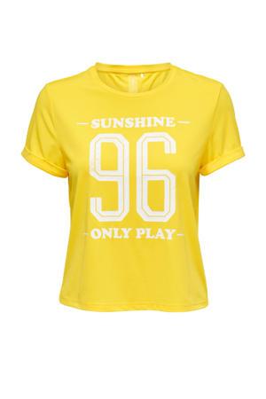 sport T-shirt Min geel/wit