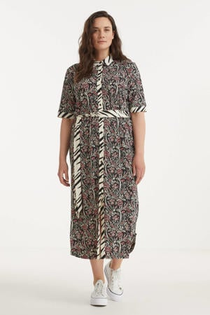 blousejurk Maud met all over print roodbruin/ecru/oudroze