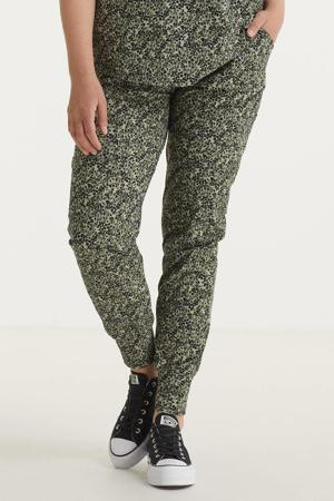 skinny joggingbroek Maddy van travelstof met all over print mintgroen/groen/donkergroen