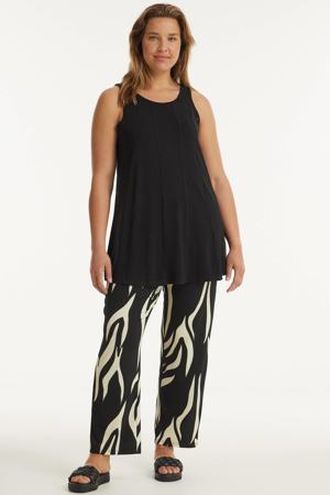 straight fit broek Maxima van travelstof met zebraprint zwart/ecru