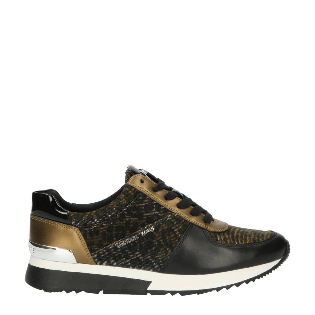 Michael Kors Allie Trainer  leren sneakers met panterprint brons, Zwart/brons