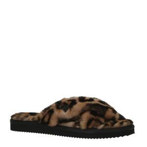 Lala Slipper pantoffels met panterprint bruin