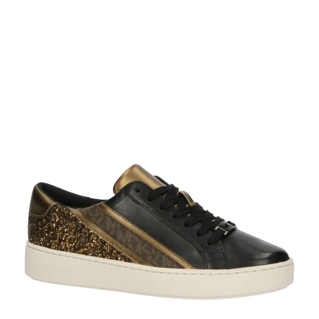 Michael Kors Slade Lace Up  leren sneakers met glitters zwart/brons, Zwart/brons