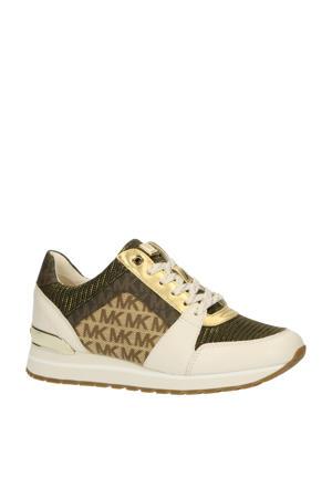Billie Logo Mixed-Media Trainer  leren sneakers ecru/goud