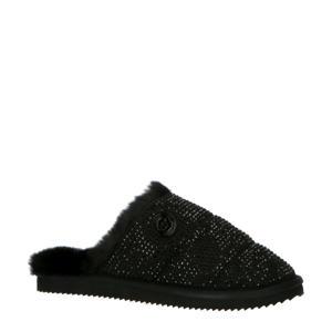 Janis pantoffels met strass steentjes zwart