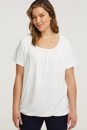 T-shirt Yoni met plooien wit
