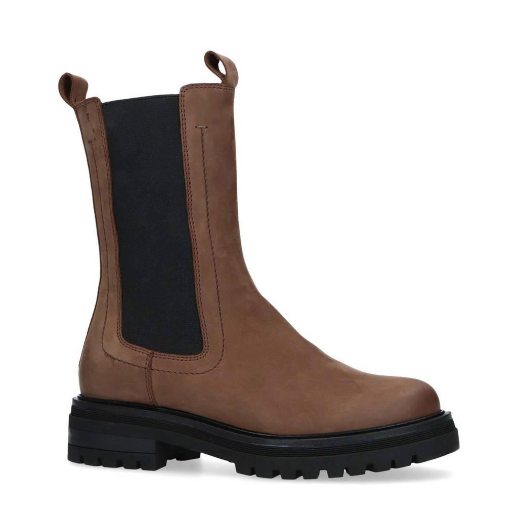 Manfield   hoge leren chelsea boots bruin, Bruin