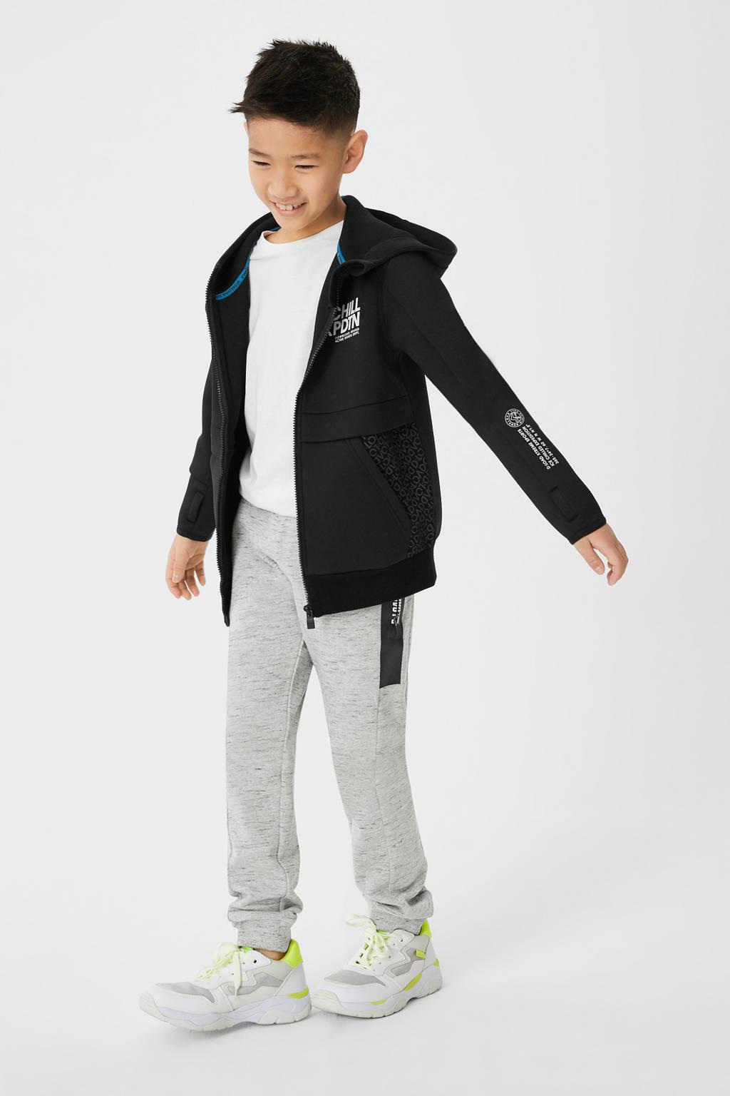 C&A Here & There gemêleerde joggingbroek met zijstreep grijs melange/zwart, Grijs melange/zwart