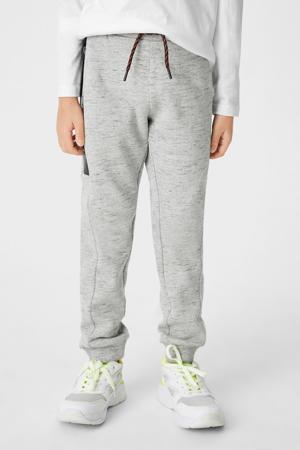 gemêleerde joggingbroek met zijstreep grijs melange/zwart