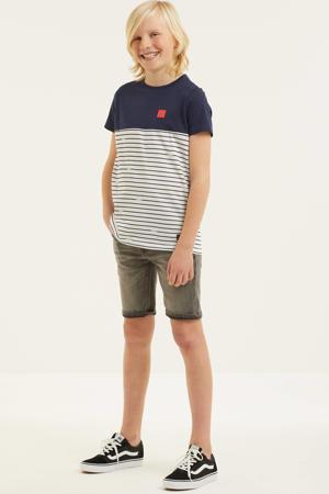 gestreept T-shirt Conrad van biologisch katoen donkerblauw/wit