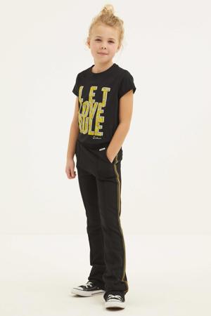flared broek Lini met zijstreep 9000 - black
