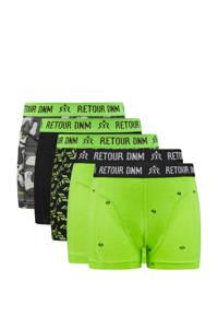 Retour Denim   boxershort - set van 5 neon groen/zwart
