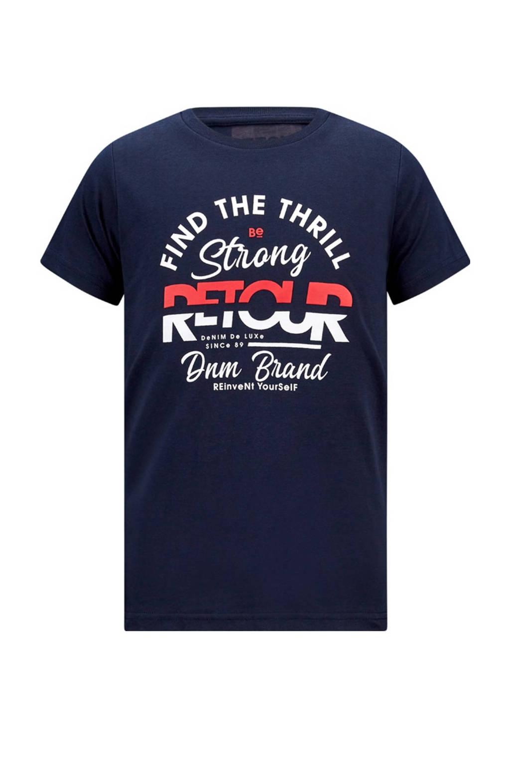 Retour Denim T-shirt Boyd met logo donkerblauw, Donkerblauw