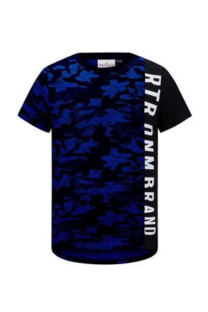 T-shirt Carlito met camouflageprint donkerblauw/wit