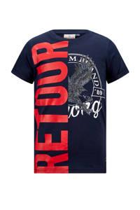 Retour Denim T-shirt Elwin met printopdruk donkerblauw, Donkerblauw