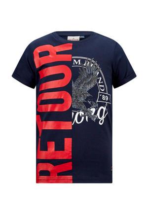 T-shirt Elwin met printopdruk donkerblauw