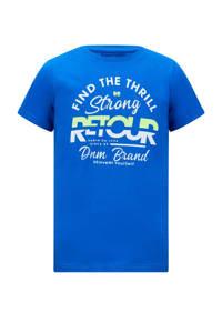 Retour Denim T-shirt Boyd met logo hardblauw, Hardblauw