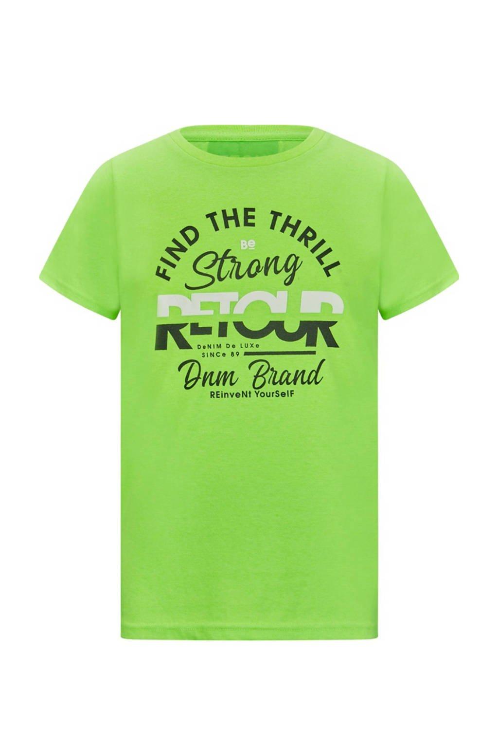 Retour Denim T-shirt Boyd met logo neon groen, Neon groen