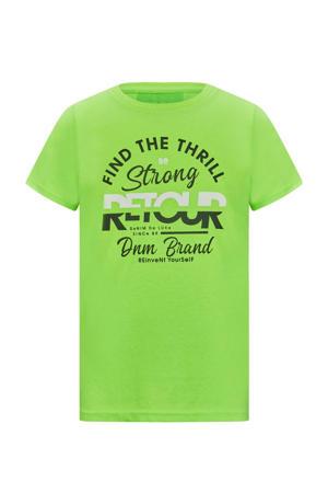 T-shirt Boyd met logo neon groen