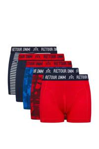 Retour Denim   boxershort - set van 5 donkerblauw/rood, Donkerblauw/rood
