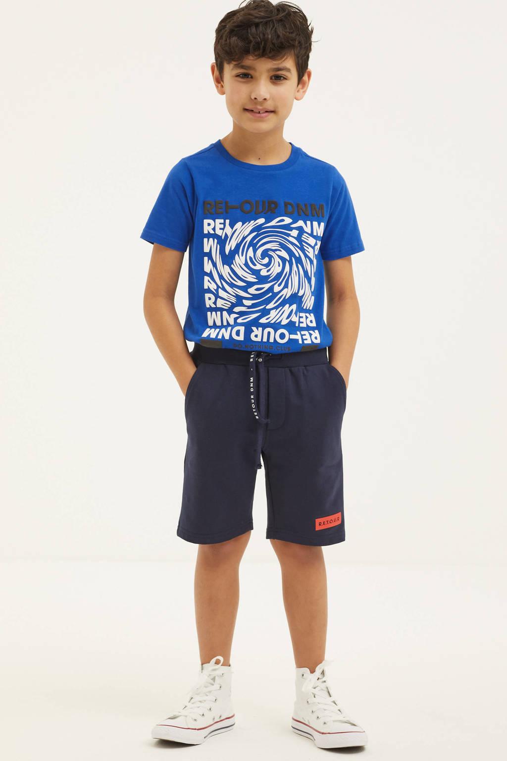Retour Denim T-shirt Baldric met printopdruk hardblauw, Hardblauw