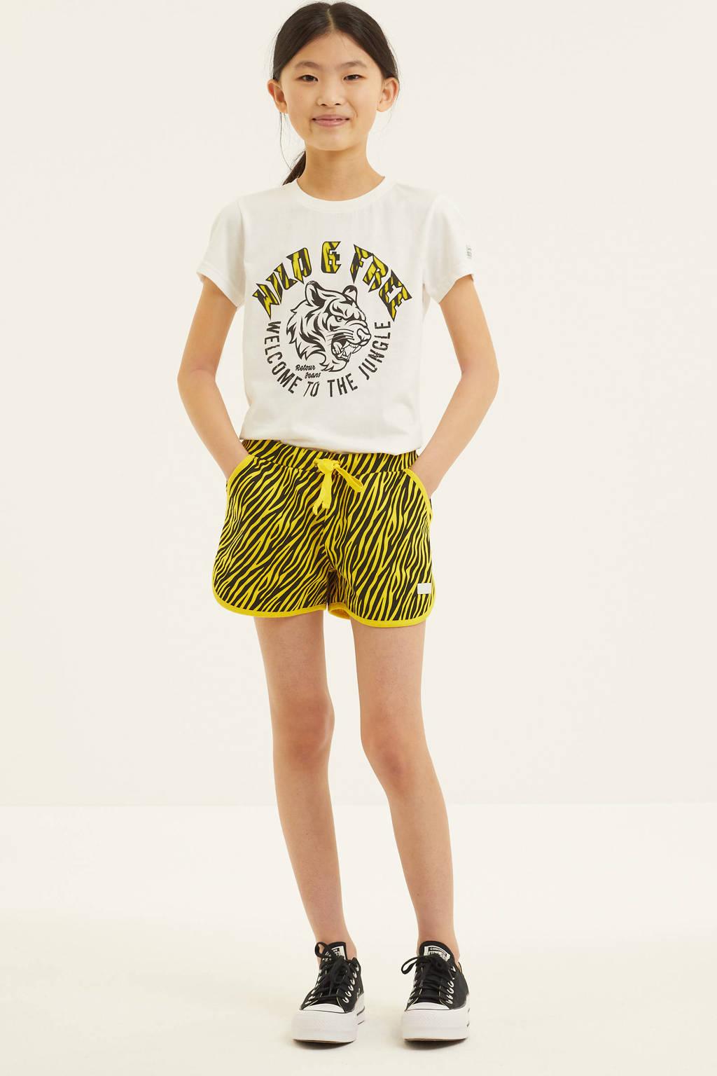 Retour Denim regular fit sweatshort Nyah met zebraprint geel/zwart, Geel/zwart