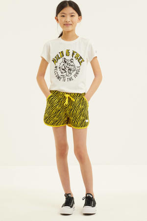 regular fit sweatshort Nyah met zebraprint geel/zwart