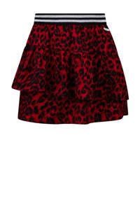 Retour Denim rok Provence met dierenprint en volant rood/zwart, Rood/zwart