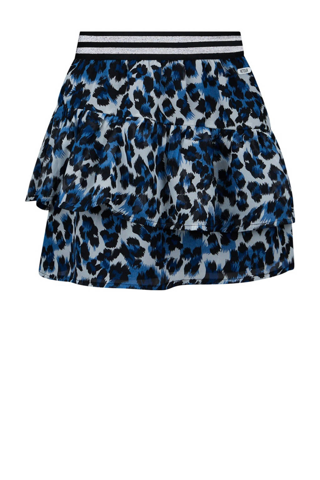 Retour Denim rok Provence met dierenprint en volant blauw/zwart, Blauw/zwart