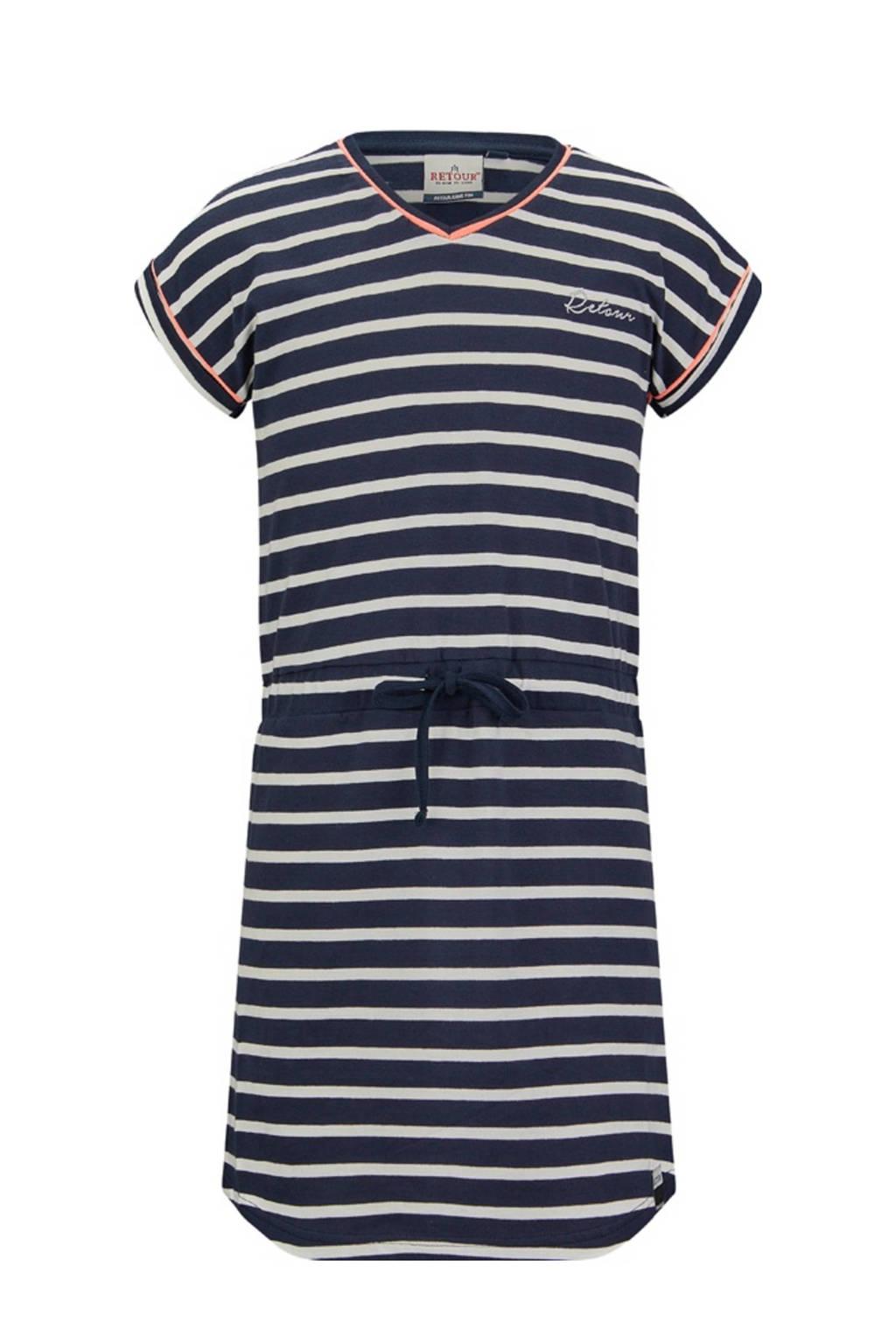 Retour Denim gestreepte jurk Toulouse marine/wit, Marine/wit