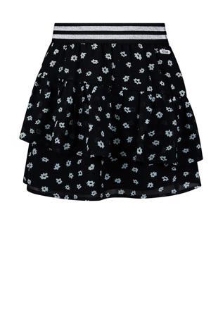 gebloemde rok Provence zwart/offwhite