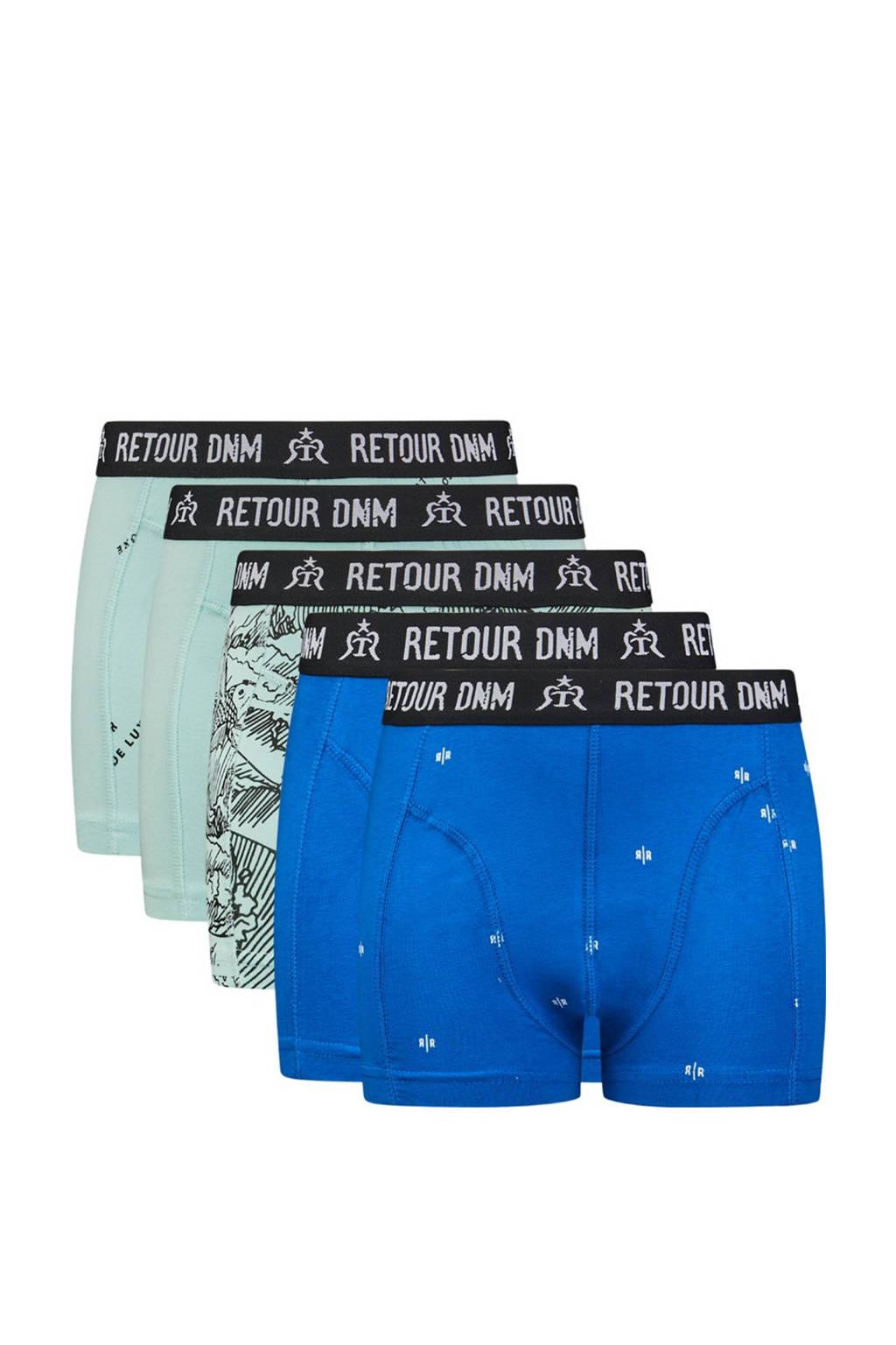 Retour Denim   boxershort - set van 5 mintgroen/hardblauw, Mintgroen/hardblauw