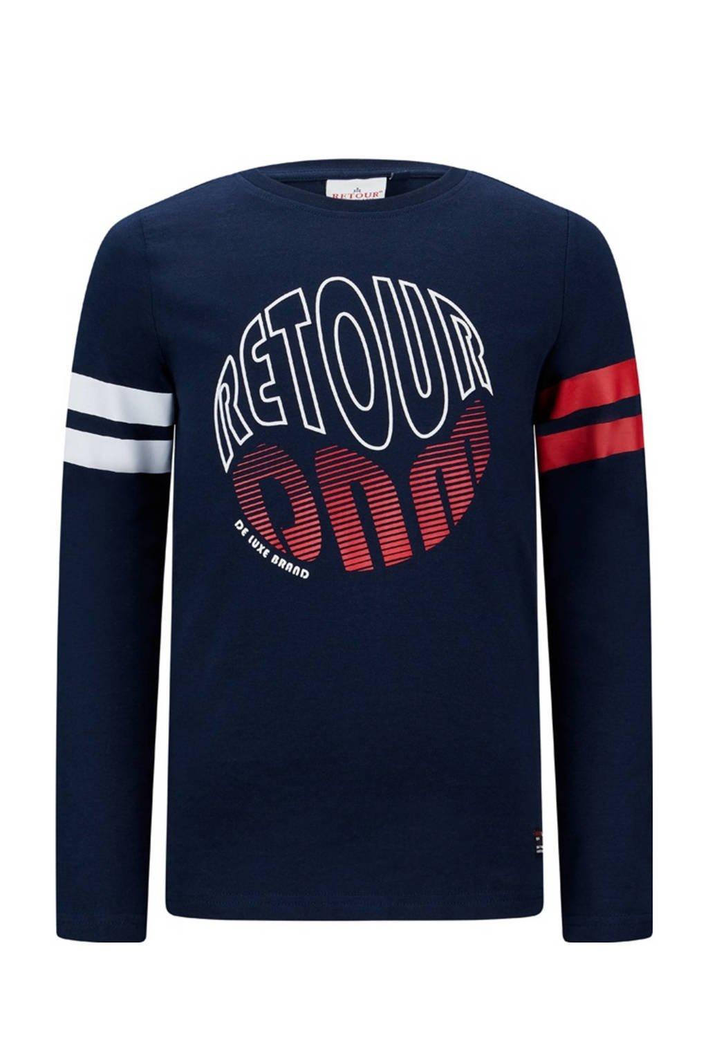 Retour Denim longsleeve Bas met logo donkerblauw/wit/rood, Donkerblauw/wit/rood