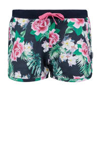 Retour Denim gebloemde slim fit short Cayenne marine/roze/groen, Marine/roze/groen