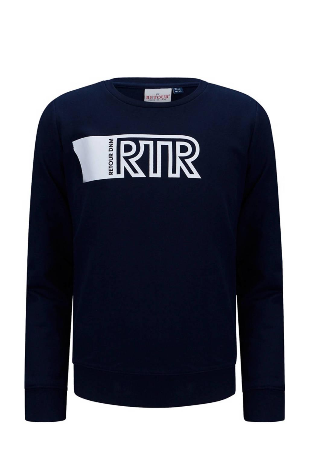 Retour Denim sweater Jannes met printopdruk donkerblauw, Donkerblauw