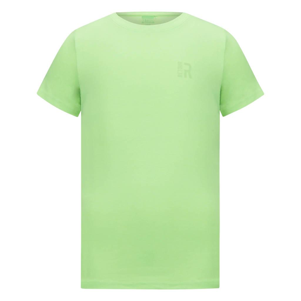 Retour Denim basic T-shirt Corneel neon groen, Neon groen