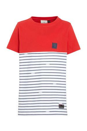 gestreept T-shirt Conrad van biologisch katoen rood/wit/blauw