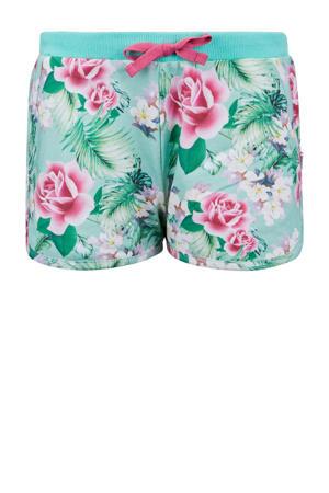 gebloemde slim fit short Cayenne mintgroen/roze