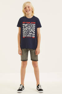 Retour Denim T-shirt Baldric met printopdruk donkerblauw, Donkerblauw