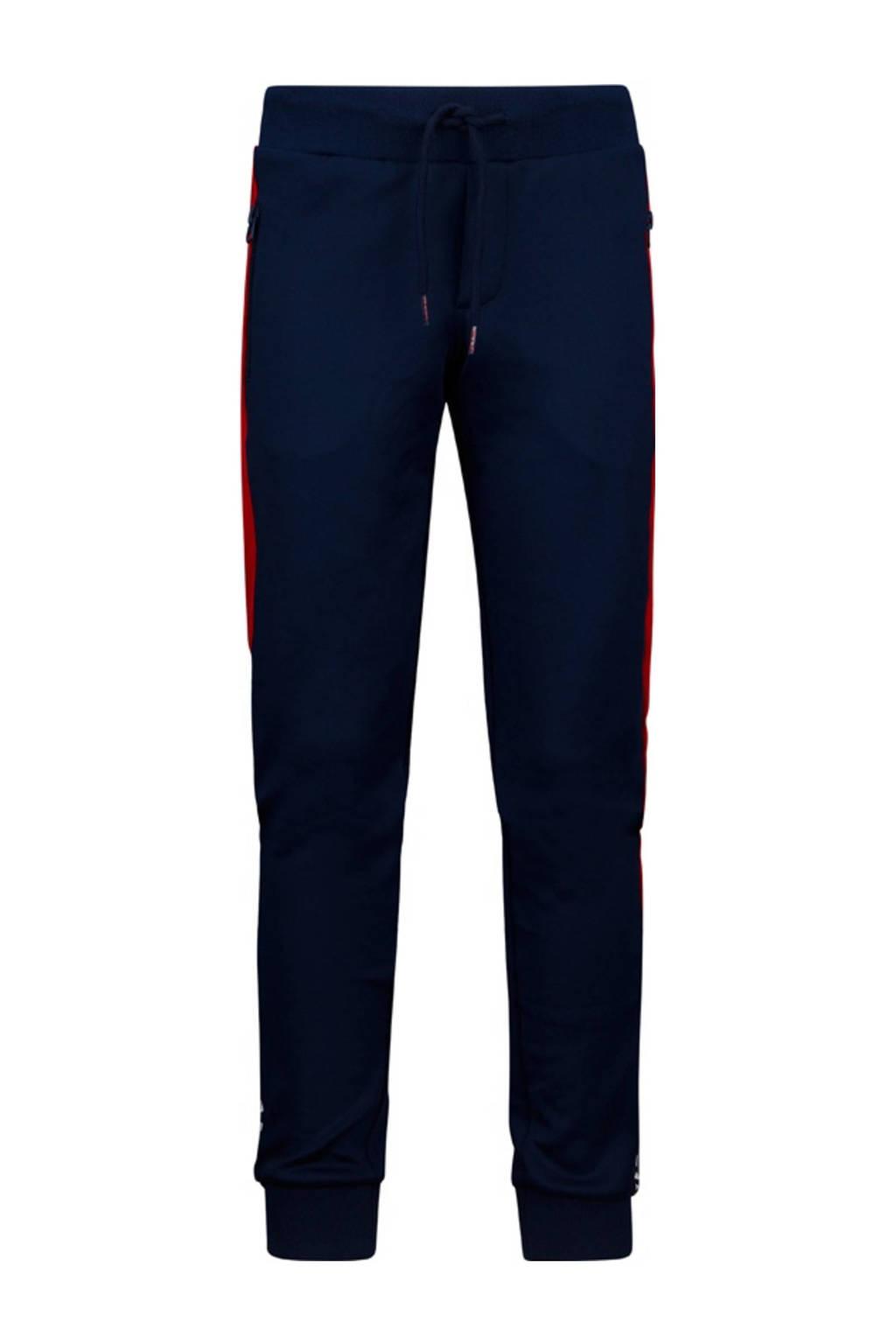 Retour Denim slim fit joggingbroek Henri donkerblauw/rood/wit, Donkerblauw/rood/wit