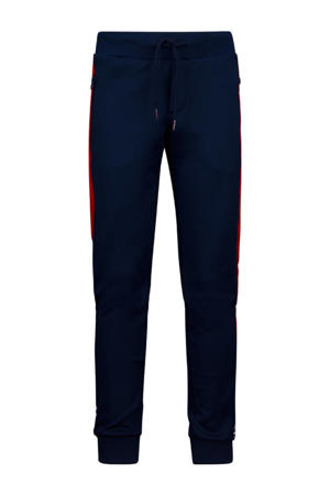 slim fit joggingbroek Henri donkerblauw/rood/wit