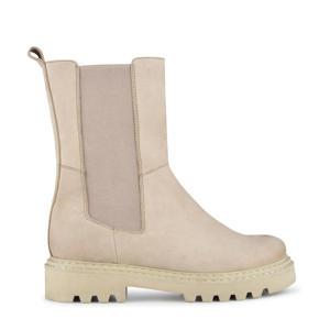 Saturno  hoge suède chelsea boots beige