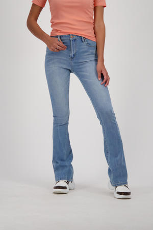 high waist flared jeans Sunrise mid blue stone