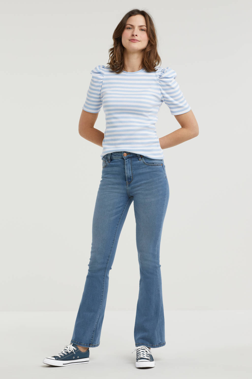 Raizzed high waist flared jeans Sunrise mid blue stone, Mid blue stone