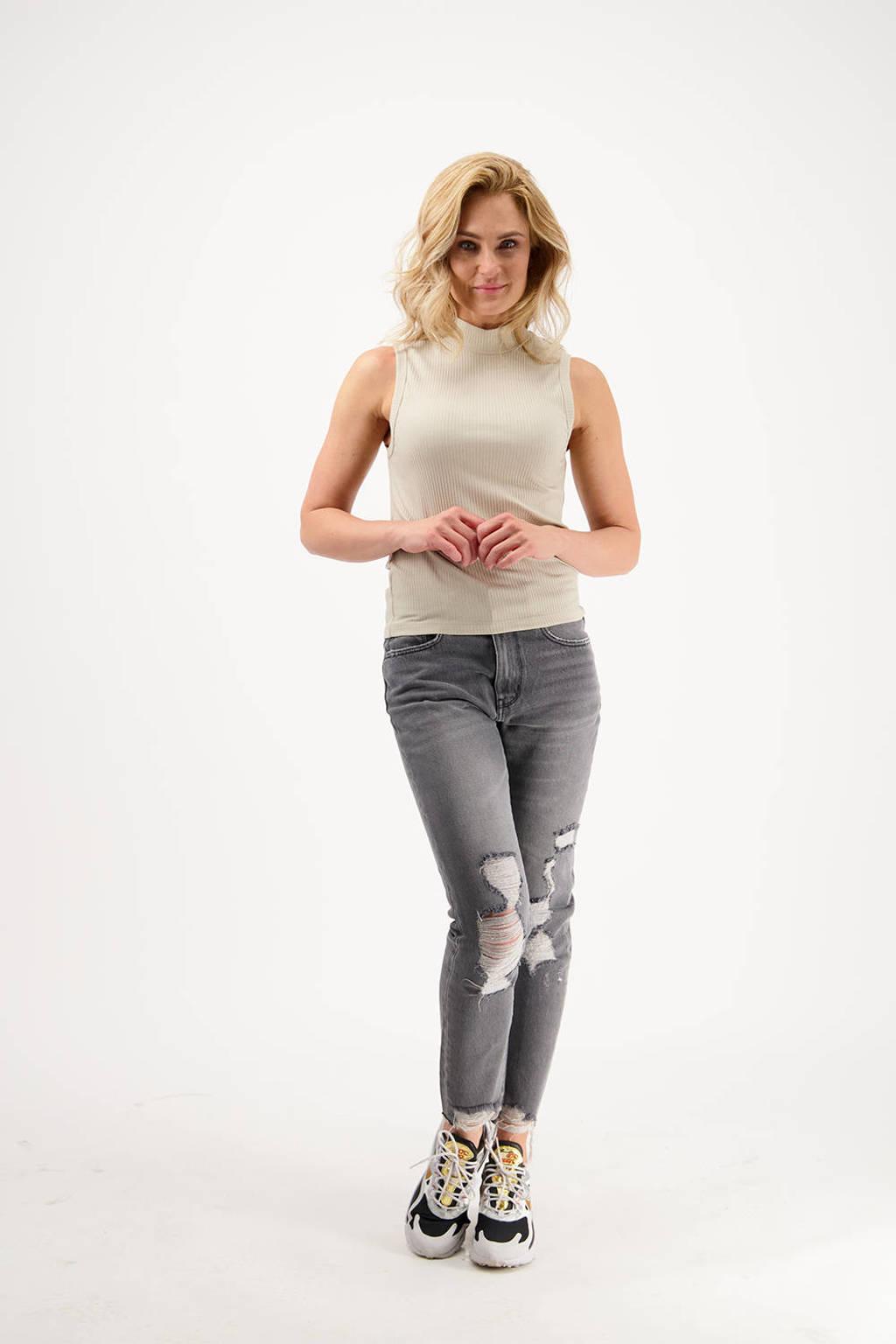 Raizzed high waist straight fit jeans Oceans Cropped light grey stone, Light Grey Stone